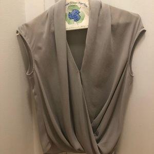 Helmut Lang silk cowl neck light grey top